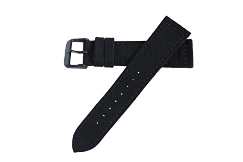 22mm Black w/Black Buckle Genuine Cordura Hadley Roma Padded Stitched Watch Band Strap MS850