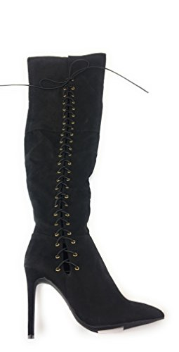 Anne Michelle Corset Lace Up Stiletto Boots Riseup-95 Nero