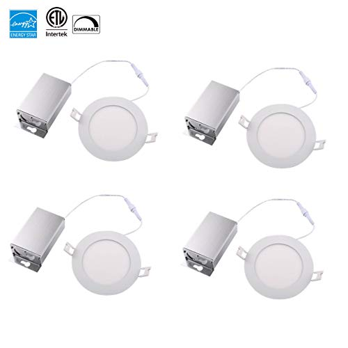 (4 Pack) NICKLED 8W 4-inch Dimmable Round LED Panel Light 720lm Ultra-thin-10mm 5000K Natural White LED Recessed Ceiling Light Fixture for Home Office Commercial Lighting IP54 by NICKLED