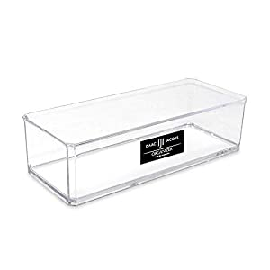 Isaac Jacobs Clear Acrylic Rectangular Stackable Storage Organizer, (9″ L x 3.5″ W x 2.5″ H) Drawer Tray, Multi-Functional, Bathroom, Kitchen, Home, Office, Desk, Drawers