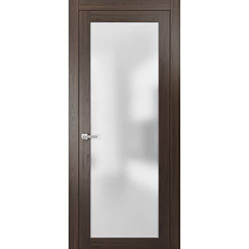 Lite Opaque Glass Door 30 x 84 | Planum 2102 Chocolate Ash | Frames Trims Satin Nickel Hardware | Solid Core Wood Pre-Hung Door