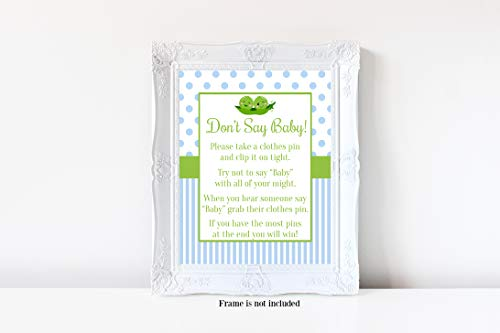 Two Peas in a Pod Don't Say Baby, Two Peas in a Pod Baby Shower, Boy Baby Shower, Don't Say Baby Game, Baby Shower Games, 8x10 Glossy Sign -
