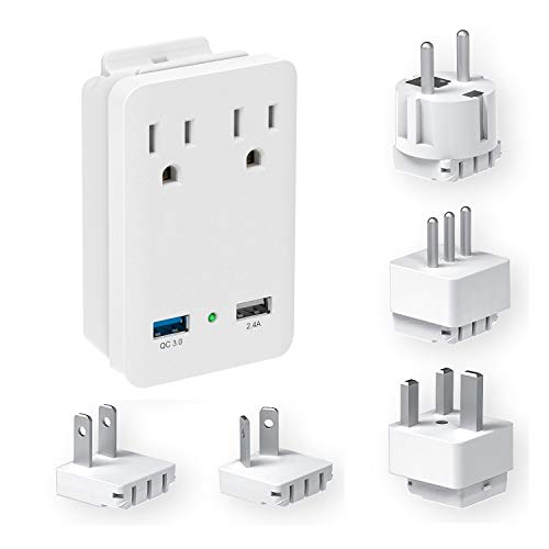 Kit Usb Travel Charge (International Travel Adapter Kit - Quick Charge 3.0 USB Charger & 2000W Dual Electrical Wall Outlets for USA, Ireland, Europe, Russia, France, New Zealand, UK, Australia, Italy and more)