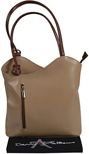 Bag The Shoulder Hand Branded backpack Italian A Over brown Includes Dual Storage Taupe Protective Handbag Leather Made Purpose qfwIZ