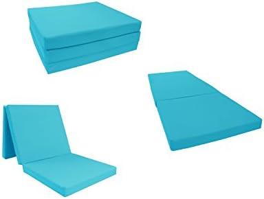 D D Futon Furniture Turquoise Shikibuton Tri fold Foam Beds 3 Thick X 27 Wide X 75 Long, 1.8 lbs high Density Resilient White Foam, Floor Foam Folding Mats.