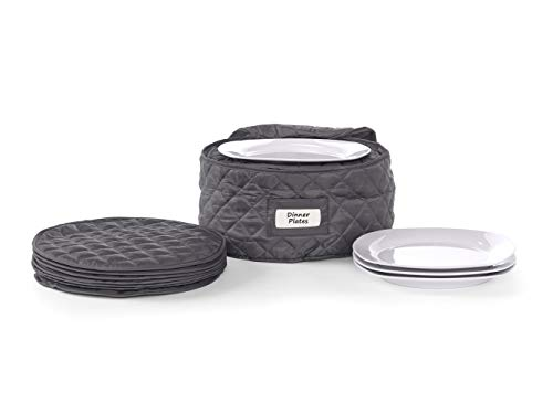 Covermates - Round Dinner Plates Storage 12 DIAMETER x 7H - Diamond Collection - 2 YR Warranty - Year Around Protection - Slate
