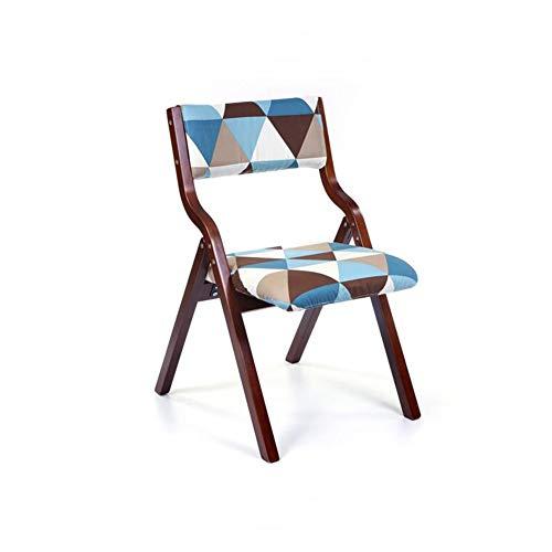 K-Study desk Folding Chair Brown Wood Backrest Chair Soft Cushion Cloth Bedroom Desk Chair Cafe (Color : 1), 8 ()
