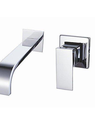 Chrom-Finish Zeitgenössische Wandhalterung Waschbecken Wasserhahn