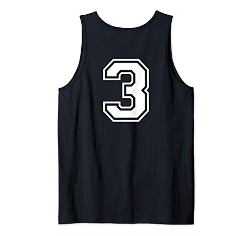 #3 Sports Fan Player Game Winner Lucky Outline Number Back Tank Top ()