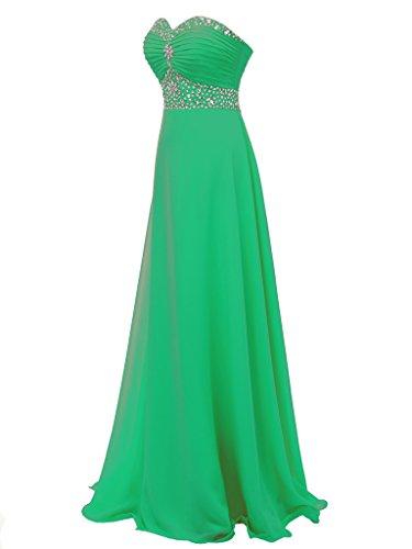 D'onore Da Della Sera Chiffon Donne Solovedress Da Promenade Abito Cristallo Damigella Vestito Di Delle Verde Lungo xYw8vETqW