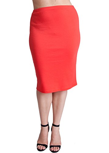 Woman Orange Plus Size Banded Waistline Pencil Skirt