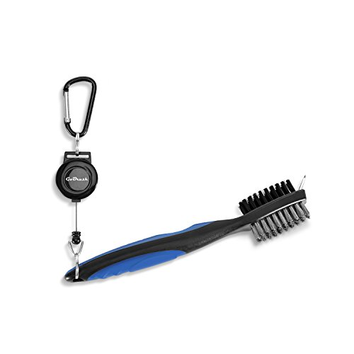 - GoBrush (Blue) Golf Brush and Groove Cleaner Accessory - 2 Ft Retractable Clip - Brass, Nylon, and Groove Cleaning Tool - Clips to Golf Bag