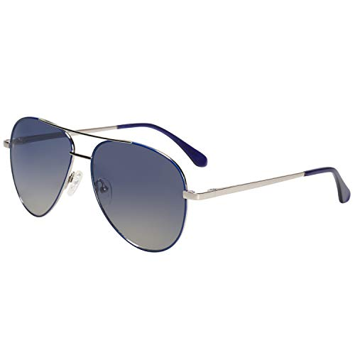 MAREINE Sunglasses Unisex Aviator Sunglasses Gradient Blue Lens/Rose Gold Frame Medium ()