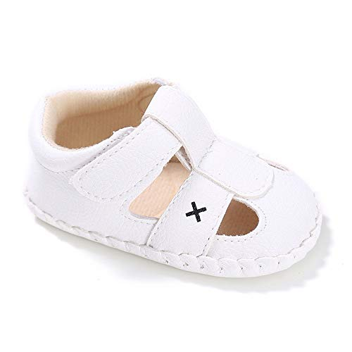 (Isbasic Baby Pu Leather Sandals for Toddler Boy Girl Rubber Sole Anti-Slip Slippers Shoes (6-12 Months, B-White))