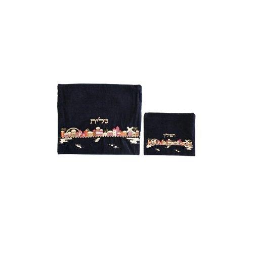 Yair-Emanuel-Embroidered-Tallit-and-Tefillin-Bag-Set-with-Jerusalem-in-Velvet