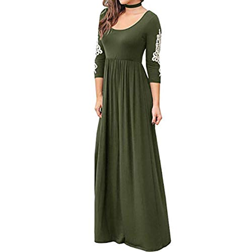 DEATU Ladies Dress, Teen Women Solid Applique Three Quarter Sleeve High Waist Boho Long Maxi Dresses(Army Green,L)]()
