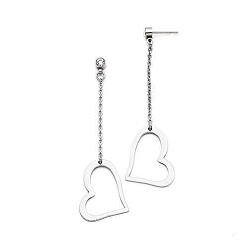 20mm Open Heart and Crystal Post Dangle Earrings in Stainless (20mm Open Heart Ring)