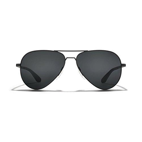 ROKA Phantom Alloy Sports Performance Aviator Polarized Sunglasses for Men and Women - Matte Black Frame - Dark Carbon (Polarized) ()