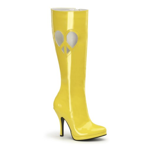 (Funtasma 4 1/2 Inch High Heel Go Go Boots Sexy Knee High Boots Heart Peace Sign 3 Colors Size: 6 Colors:)