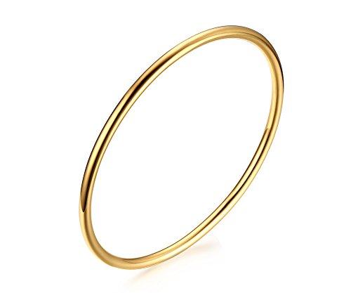 - VNOX 3mm Girl's Stainless Steel Round Bangle Bracelet,Gold Plated