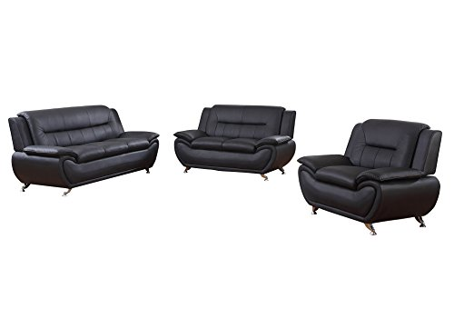 Home Garden Collections 3 Piece Faux Leather Contemporary Living Room Sofa, Love Seat, Chair Set, Black Product SKU: ()
