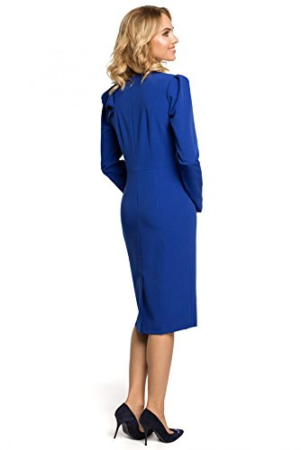 Arm Kleid Clea Königsblau am Rüsche mit BZPqwOI