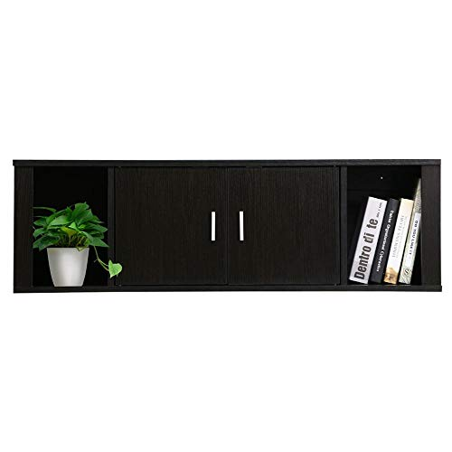(Yaheetech Floating Wall Mounted TV Media Console Desk Hutch Storage Shelves Home Office Organizer, Black Brown)