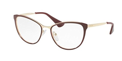 New Eyeglasses Frames Prada (Prada Cinema PR55TV Eyeglass Frames UF61O1-52 - Bordeaux/Pale Gold PR55TV-UF61O1-52)