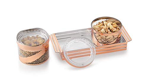 Generic I Jewels Handcrafted Serving Tray with 2 Multipurpose Snacks/Dry Fruit Air Tight Bowls with Lids (A91TR15)