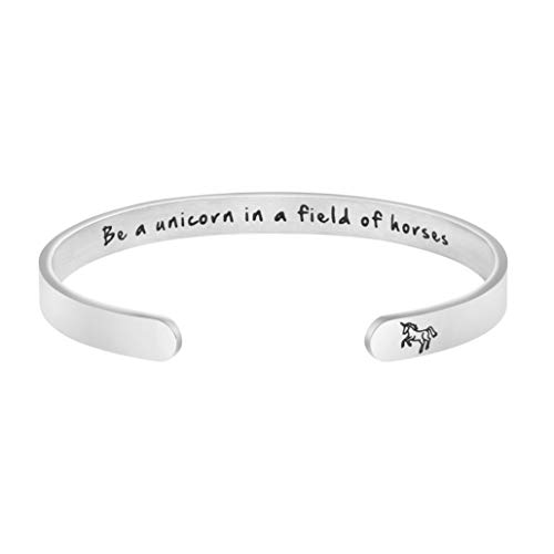MEMGIFT Unicorn Gifts for Women Inspirational Bracelet Stainless Steel Hand Stamped Jewelry ()