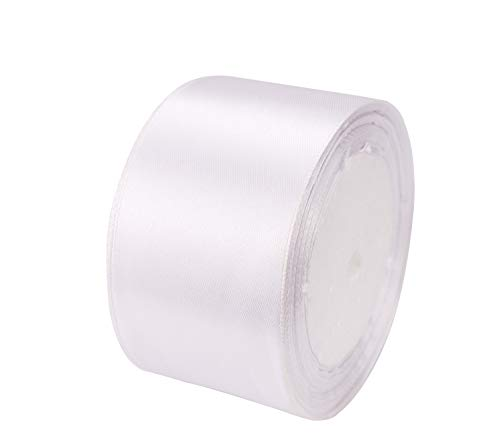 ATRibbons 50 Yards 1-1/2 inch Wide Satin Ribbon Perfect for Wedding,Handmade Bows and Gift Wrapping,25 Yards/Roll x 2 Rolls (White)