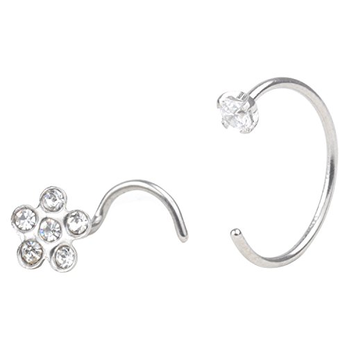 RJ Surgical Stainless 20G 3mm Clear Round CZ Nose Stud Nose Hoop Earring Ring Flower Nose Screw Body Jewelry Piercing 1-2pcs ()