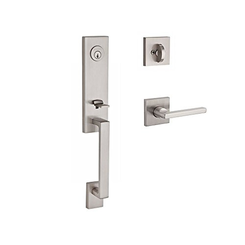 Left Hardware Hand Baldwin (Baldwin SCSEAXSQULCSR150 Reserve Single Cylinder Handleset Seattle x Square with Contemporary Square Rose in Satin Nickel Finish Left Hand)