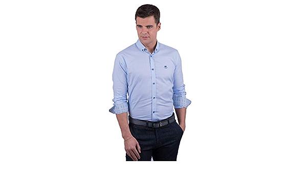 La Española Camisa Azul Celeste con Contraste Multicolor ...