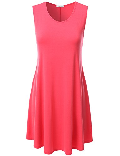 Womens Orange Tank Dress (NINEXIS Womens Sleeveless Flowy Loose Fit Flare Tank Tunic Dress Coral S)