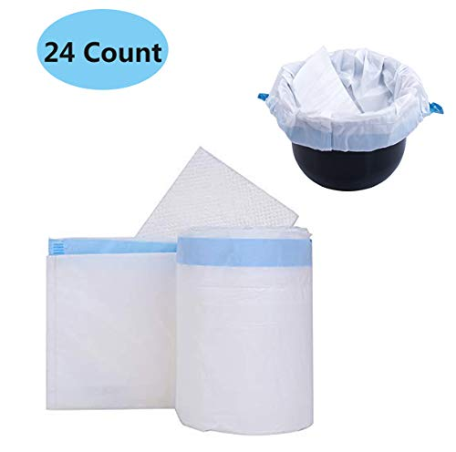 (Med-Rehabs Commode Liners with Absorbent Gel Pads - 60×45cm Universal Fit Disposable Absorbent Liners for Adult Bedside Chair Bucket Bedpan (24 Counts) )