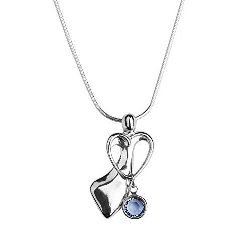 (Loving Family Sterling Silver Pendant Necklace with 1 Swarovski Crystal Birth Month Charms - 18