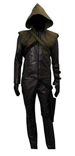 Very Last Shop Men's Archer Costume Brown Faux Leather Hoodie and Pants Set with Accessories (US Men-XL, Brown) ()