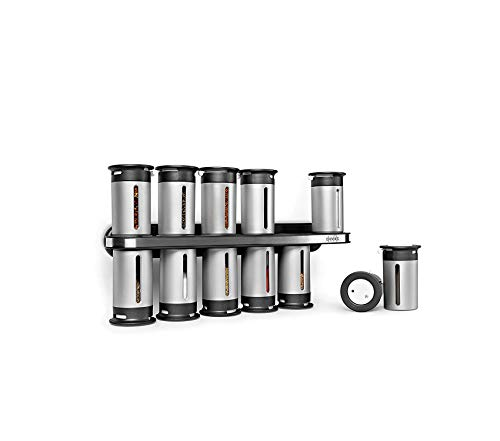 - Home Décor Premium Zero Gravity Magnetic Spice Rack with 12 Canisters Storage Durable Strong Decorative