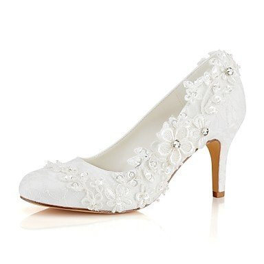 Basic Heel Best Spring Wedding Pump 4U Evening Stiletto for Stretch Satin Crystal Toe Wedding Shoes Ivory ivory Women's Fall Shoes Round Pearl Party X7Xr0w