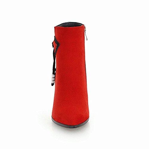 Carolbar Women's Assorted Color Rhinestones High Heel Short Dress Boots Red 79PmeWXcQ