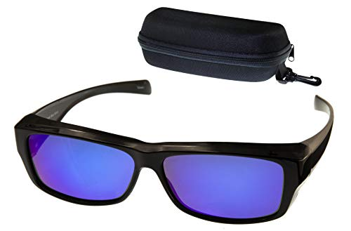 (ETP Sunglasses -Polarized Ice Blue Mirror Lens with Case - Black Frame - Size Small)