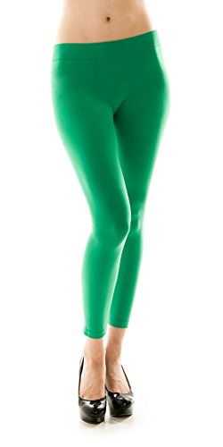 Same Mind INC Women's Ultra Soft Fabric Solid Color Casual Skinny Leggings (Green)