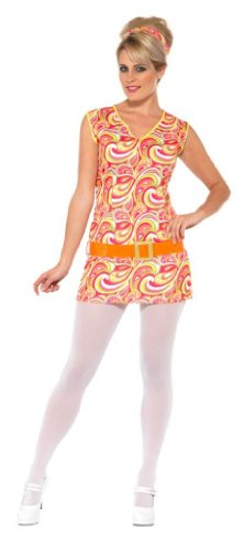 Smiffy's Women's Hippy Lady Costume Psychedellic Dress with Belt and Headband, Multi, (Ladies Hippy Fancy Dress)