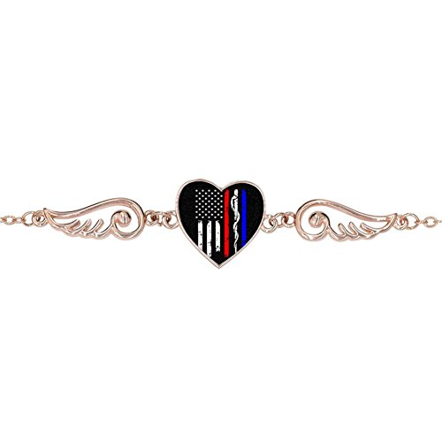 LUQeo Police & Firefighter & EMT Flag Personalized Design Heart Charm Bracelet Jewelry