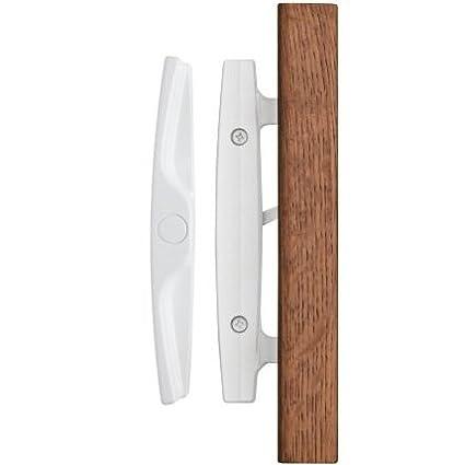 Euro Whistler Sliding Door Handle Set With Oak Wood Pull In White