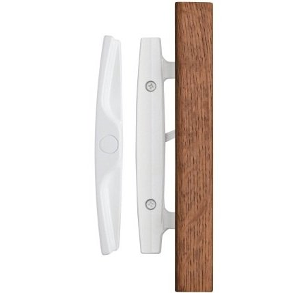 euro whistler sliding door handle set with oak wood pull in white durable hardware