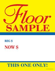 "C80FLO Floor Sample Regular Now - Large Price Cards - Sale Tags - 8 1/2"" x 11"" (100 Pack) Business Store Signs"
