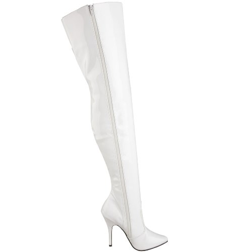 Seduce 3010 Women's Boot Thigh White High Pleaser Patent RH5Zqgw5