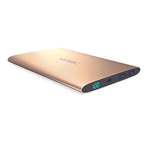Power Bank, Vinsic® Dual SMART USB-Anschluss 5V / 2,4A Externer Akku Ladegerät 15000mAh für iPhone Samsung Galaxy und Alle Smartphones-Gold